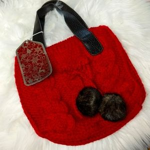 BATH & BODY WORKS Red Sweater Purse Furry Poms NEW